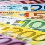 Various Euro banknotes. Finance concept